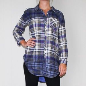Aratta Plaid Button Up with Floral Accents